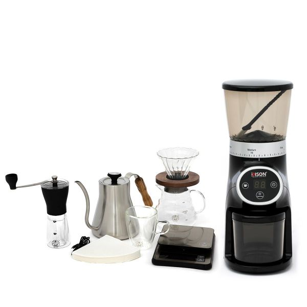 طقم القهوة المختصة 9 قطع + إديسون مطحنة قهوة أسود